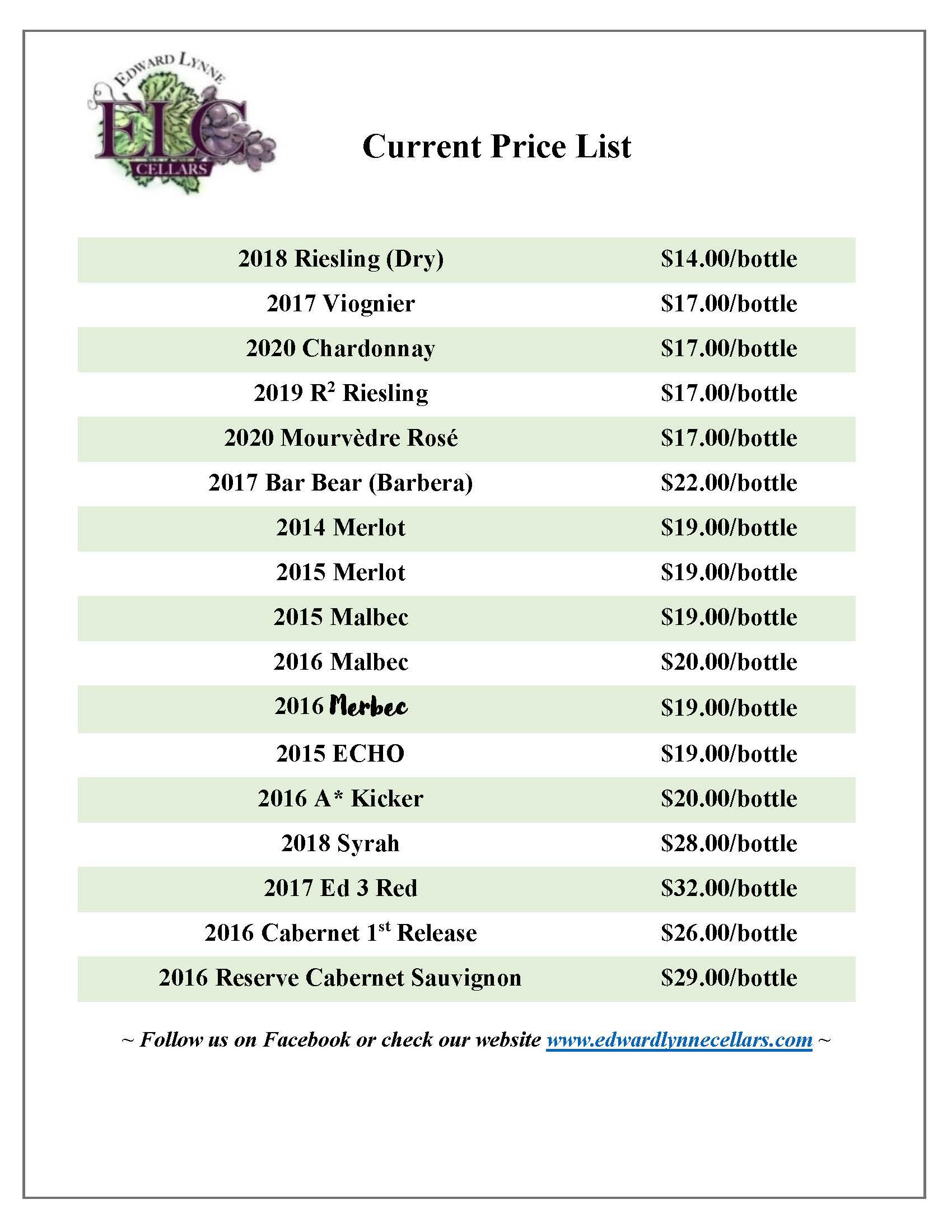 EdwardLynnCellars July 2021 Price List